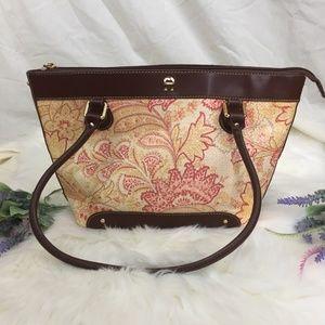 Etienne Aigner Neutral Floral Straw Shoulder Bag